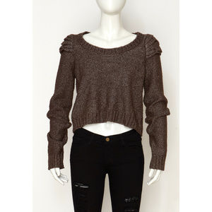 BCBC Generation Silver/Brown Crop Sweater